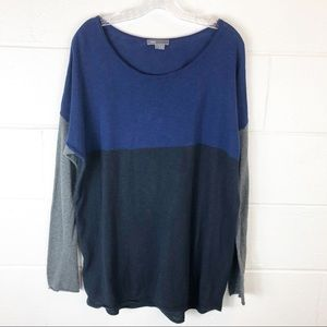 Vince Blue Black Gray Color Block Sweater Large